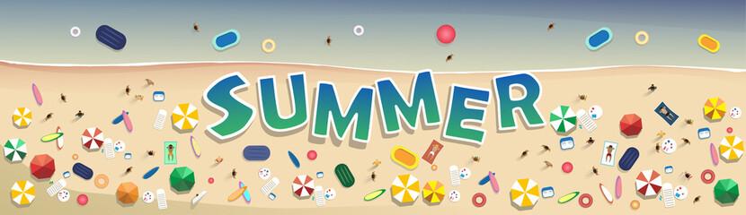 Summer Beach Vacation Set Sand Tropical Holiday Banner Flat Vector Illustration