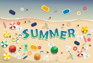 Summer Beach Vacation Set Sand Tropical Holiday Banner Flat Vector Illustration