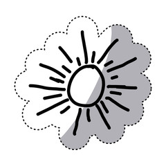 monochrome contour sticker with abstract sun vector illustration