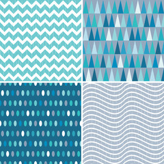 Set of seamless geometric masculine patterns in aqua blue and teal with grunge overlay. Includes chevrons, triangles, polka dots and stripes, for gift wrapping paper, wallpapers and surface textures.