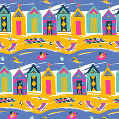 Colorful bright vector seamless pattern with beach cabin landscape