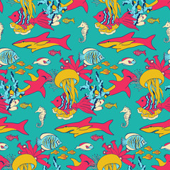 Vector underwater sea life seamless pattern texture