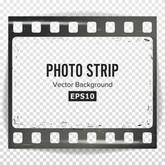 Photo Strip Vector. Realistic Empty Frame Strip Blank. Grunge Scratched Template Isolated On Transparent Background.