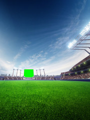stadium sunny day. with people fans. 3d render illustration blue sky