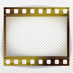 Film Strip Vector. Cinema Of Photo Frame Strip Blank Scratched Isolated On Transparent Background.