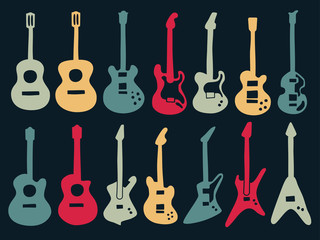 Guitar drawing with colorful icons in variety style including acoustic, classic and electric type.
