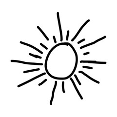 monochrome contour with abstract sun vector illustration