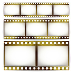 Film Strip Vector Set. Cinema Of Photo Frame Strip Blank Scratched Isolated On White Background.