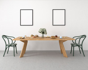 3d illustration of a breakfast table.