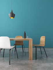 Wooden dining table with chairs in a room. 3d rendering.