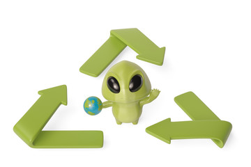 A little green monster with the recycling symbol.3D illustration.