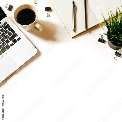 Modern Minimalistic Work Place White Office Desk Table