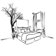 Tree and Furniture in Hotel Room Concept