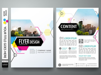Portfolio design template vector.Minimal brochure report business flyers magazine poster. Abstract pink and blue hexagon on cover book presentation.City concept on A4 size layout.