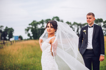 Wedding couple bride and groom on field background walking and embracing.