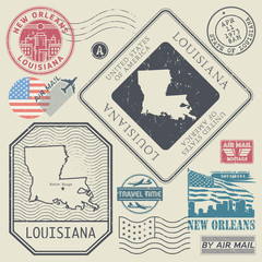 Retro vintage postage stamps set Louisiana, United States