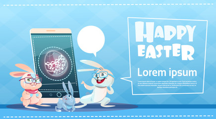 Rabbits Group Use Cell Smart Phone Easter Holiday Symbols Greeting Card Flat Vector Illustration