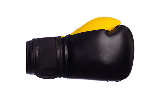 one Yellow boxing mitts on a white background