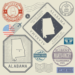 Retro vintage postage stamps set Alabama, United States