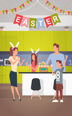Family Kitchen Interior Celebrate Easter Holiday Decorated Colorful Eggs Greeting Card Flat Vector Illustration