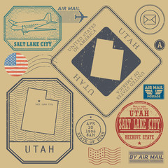 Retro vintage postage stamps set Utah, United States