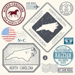 Retro vintage postage stamps set North Carolina, United States