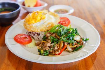 Beef sirloin  sweet basil stir-fried with rice