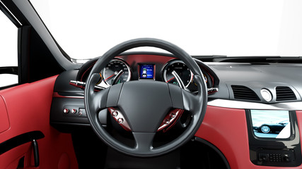 red leather interior of luxury black sport car . isolate 3d rendering.