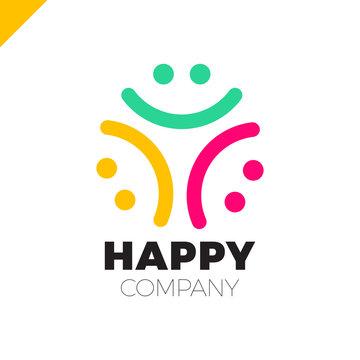 Three Smile People Logo - Happy Community icon