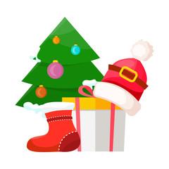 Christmas Tree near Present Box and Santa Cap