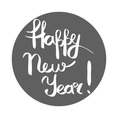 Happy New Year White Inscription in Grey Circle