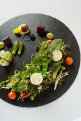 Fresh vegetables on slate, studio shot
