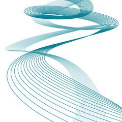 Sfondo astratto di onde, spirale blu, file vettoriale
