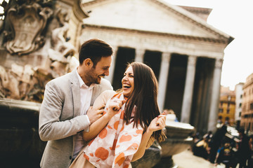 Loving couple in front of the Pantheon in Rome