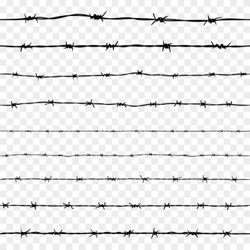 Set of Steel Rusty Barbwire Seamless Pattern