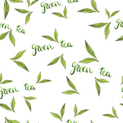 Seamless pattern with green tea leaves and hand lettering. Hand drawn watercolor illustration.