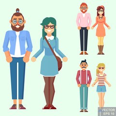 Young hipster geek urban style couple woman man boy girl. Flat cartoon vector illustration