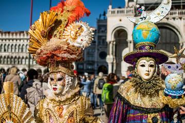 Venetian carnival mask,Venice,Italy,25 February 2017,Traditional carnival in Venice venetian carnival mask
