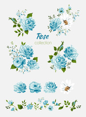 Beautiful isolated blue flowers on the white background. Set of different floral design elements-Blue rose, chamomile, leaf, branch. All elements are isolated and editable.