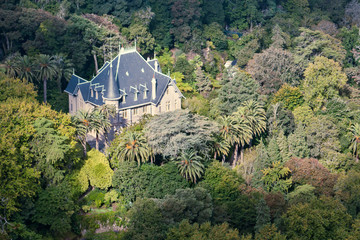 Mansion of Quinta da Regaleira, aerial view. Villa in jungle. Famous historical portuguese place of interest.