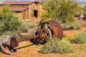 Vintage Rusted Mining Equipment in Arizona Desert