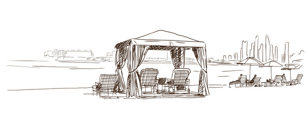 Sketch of Arabic tent on beach. Vector illustration.
