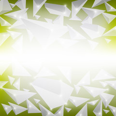 Green Crystal Pattern. Explosion of Particles. Abstract Parts Background