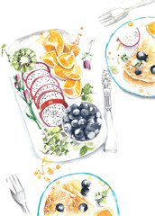Breakfast table still life crepes fruits kiwi oranges blueberry watercolor painting illustration isolated on white background
