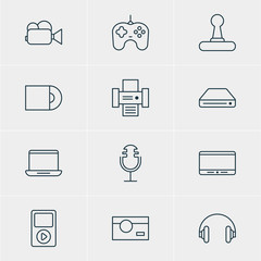 Vector Illustration Of 12 Device Icons. Editable Pack Of Monitor, Dvd Drive, Joypad And Other Elements.