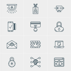 Vector Illustration Of 12 Web Safety Icons. Editable Pack Of Safe Storage, Send Information, Data Security And Other Elements.