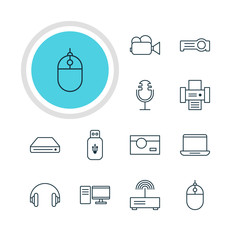 Vector Illustration Of 12 Accessory Icons. Editable Pack Of Camcorder, Usb Card, Memory Storage And Other Elements.
