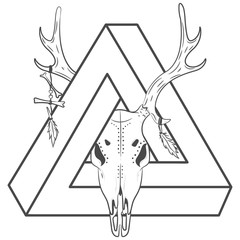 Vector print deer with a triangle. Deer Skull and triangle