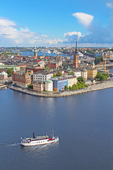 Deurstickers Stockholm Panorama of Stockholm Old City and boat, Sweden