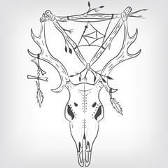 Deer Skull and Dreamcatcher. Vector print